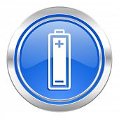 battery icon, blue button, power sign