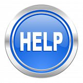 help icon, blue button