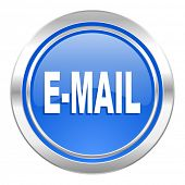email icon, blue button