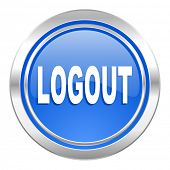 logout icon, blue button