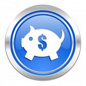 piggy bank icon, blue button
