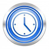 time icon, blue button, watch sign