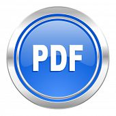 pdf icon, blue button