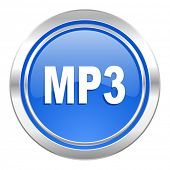 mp3 icon, blue button