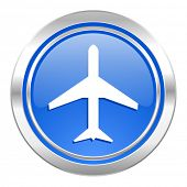 plane icon, blue button, airport sign