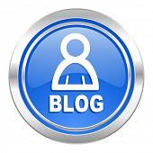 blog icon, blue button