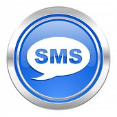 sms icon, blue button, message sign