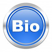 bio icon, blue button