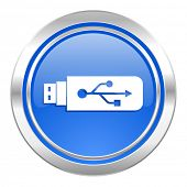 usb icon, blue button, flash memory sign
