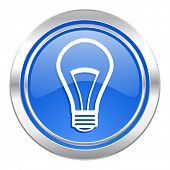 bulb icon, blue button, light bulb sign
