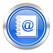 address book icon, blue button