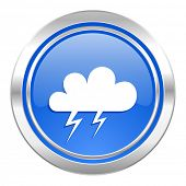 storm icon, blue button, waether forecast sign