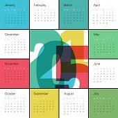 Calendar 2015 Colorful. Square composition