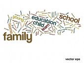 Vector concept or conceptual family education abstract word cloud on white background