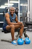 portrait of african man sitting after exercise