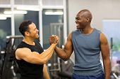 friendly men handshaking in gym