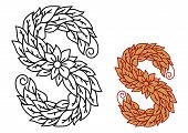 Floral and foliate font uppercase letter S