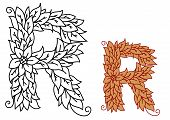 Floral and foliate font uppercase letter R