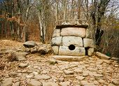 Постер, плакат: Ancient Mystery Stone Dolmen In North Western Caucasus Russia