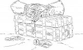 vector - Treasure chest ,money , isolated on background