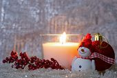 Christmas Composition - Lighted White Candle