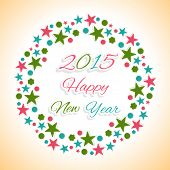 Beautiful stars decorated frame with colorful text Happy New Year 2015.