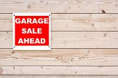 Red Garage Sale Ahead Sign