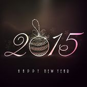 Happy New Year 2015 celebrations with stylish text and X-mas ball on shiny snowflake decorated  brown background.