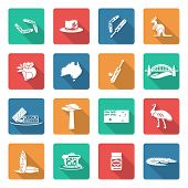 picture of boomerang  - Australia travel icons white set with boomerang kangaroo koala crocodile isolated vector illustration - JPG