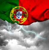 Portugal waving flag on a bad day
