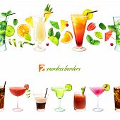 picture of pina-colada  - Cocktail seamless border with drinks in glasses and decoration vector illustration - JPG