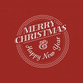 Christmas greeting card. Merry Christmas vintage label. Vector illustration