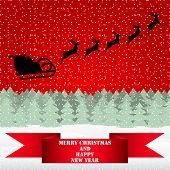 pic of sleigh ride  - Santa Claus riding on a reindeer in the Christmas forest - JPG