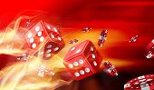 foto of dice  - Hot dice game concept with Gambling chips flying - JPG