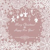 Pastel xmas card with paper snowflakes. Raster copy
