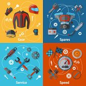 foto of spare  - Motorcycle parts flat icon set with gear spares service speed isolated vector illustration - JPG