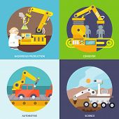 image of hazardous  - Robotic arm  flat icons set with hazardous production conveyor automotive science isolated vector illustration - JPG