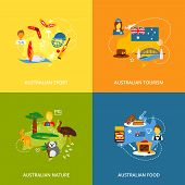 picture of meat icon  - Australia travel icons flat set with australian sport tourism nature food isolated vector illustration - JPG