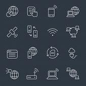 Internet icons, thin line design, dark background