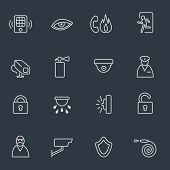 Security icons, thin line design, dark background