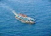 Water bus in Tokyo bay is one of the most spectacular public transport in the world. Japan.