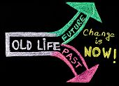 foto of handwriting  - Change is now handwriting with chalk on blackboard lifestyle change concept - JPG