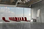 Business seminar room with flipchart for a presentation in an industrial loft (3D Rendering)