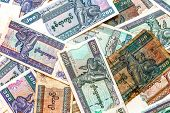 Myanmar (burma) Money, Old And New Kyat Banknotes.