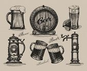Beer set. Sketch elements for oktoberfest festival. Hand-drawn vector illustration