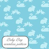 Baby boy seamless pattern in blue colors with swan, bunny and doves