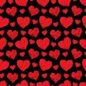 Seamless hearts pattern. Vector illustration.
