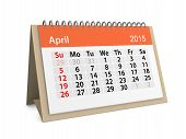 Monthly Calendar For Year 2015. April