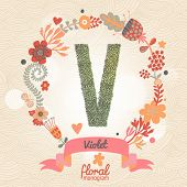 Vintage floral monogram made of green leafs and bright flowers in vector. Stylish letter V can be used for posters, cards, invitations, blogs, websites, backgrounds and any other stylish designs