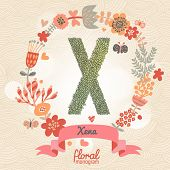Vintage floral monogram made of green leafs and bright flowers in vector. Stylish letter X can be used for posters, cards, invitations, blogs, websites, backgrounds and any other stylish designs